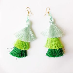 3-Layered-Tassel-Earrings-Green-01