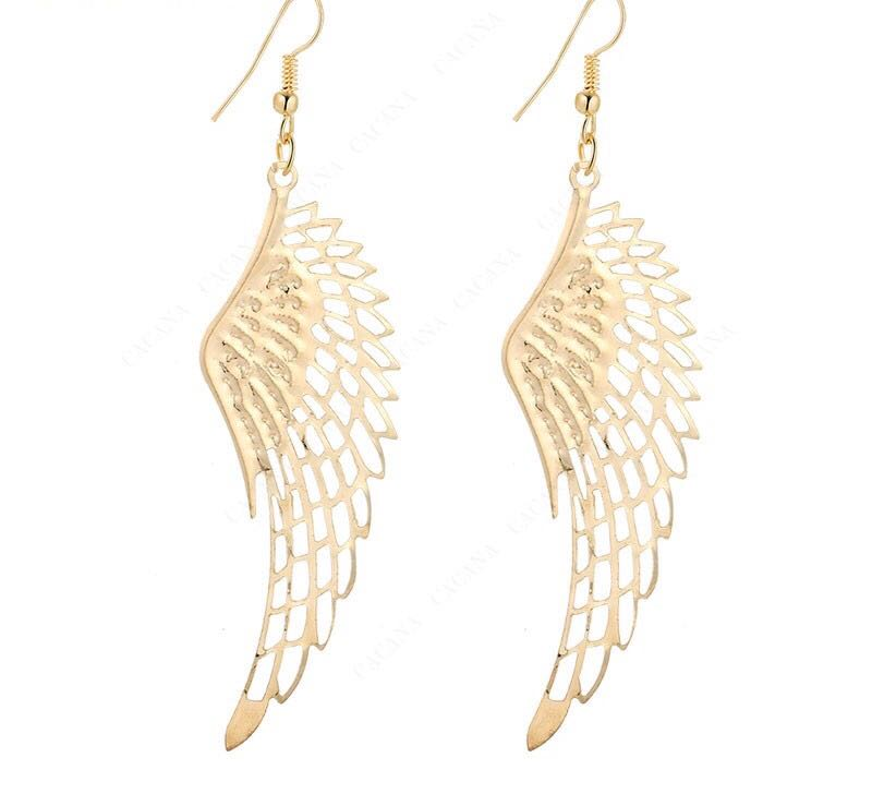 21afb034bd1e12 Big Angel Wings Earrings (Shiny Gold / Silver) - Pink and You