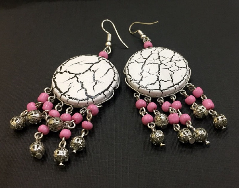 Faux-Marble-Finish-Pink-Beads-Earrings