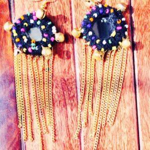Handmade-Dangle-Mirror-Golden-Chains-Charms-Wool-Earrings-Black