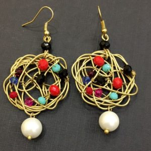Metal-Nest-Earrings-With-Multicolored-Beads-Pearl-Drop-01