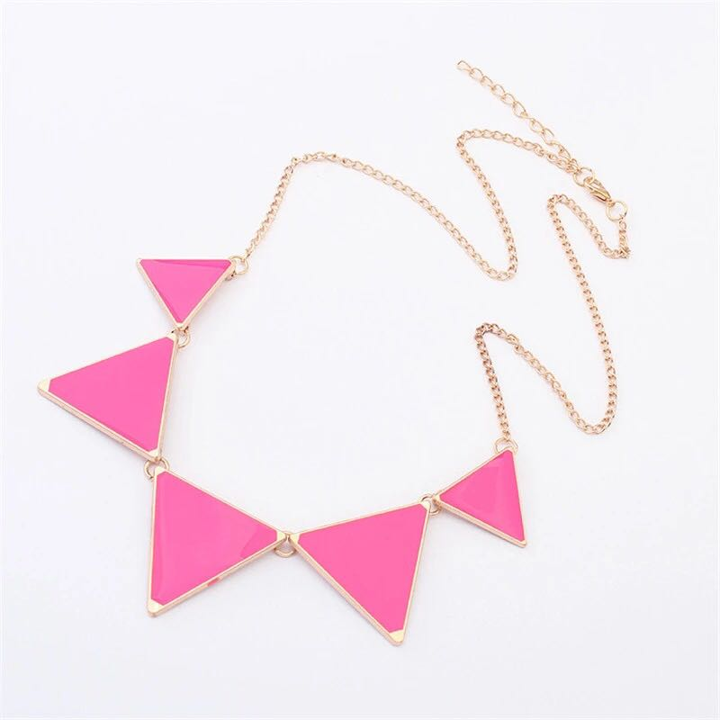 Triangle-Punk-Collar-Necklace-Pink