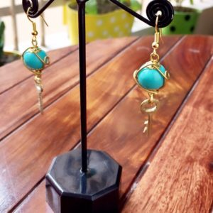 Turquoise-Bead-With-Golden-Key-Earrings