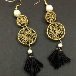 Wire-Nest-Earrings-With-Tassel-Pearl-Drop-01