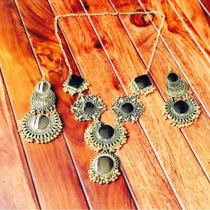 Afghani-Oxidised-Silver-NecklaceSet-With-Mirrors-Antique-Gold-02