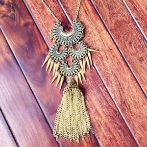 Afghani-Oxidised-Silver-NecklaceSet-With-Tassels-Antique-Gold-01