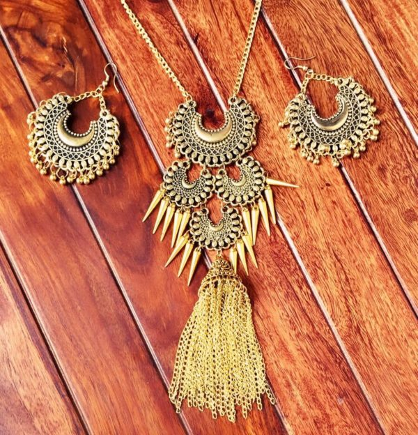 Afghani-Oxidised-Silver-NecklaceSet-With-Tassels-Antique-Gold-02