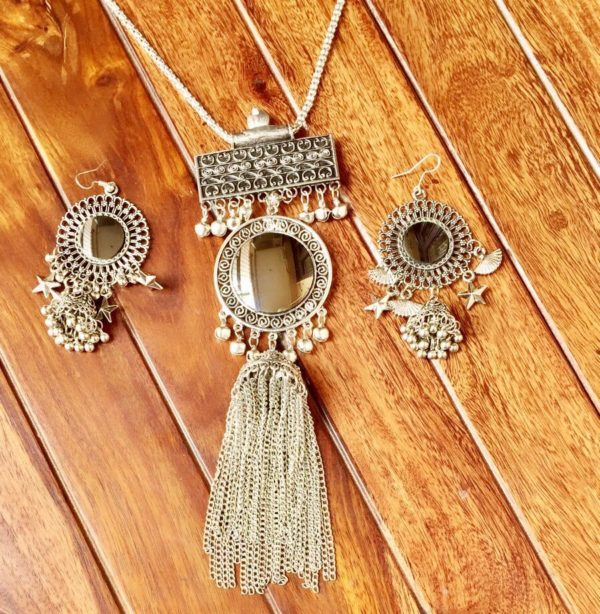 Afghani-Oxidised-Silver-NecklaceSet-With-Tassels-Antique-Silver-03