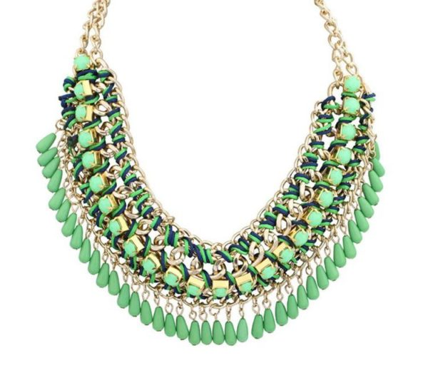 Bohemian-Knitted-Statement-Necklace-Green