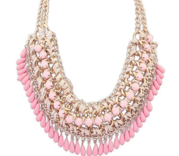 Bohemian-Knitted-Statement-Necklace-Pink