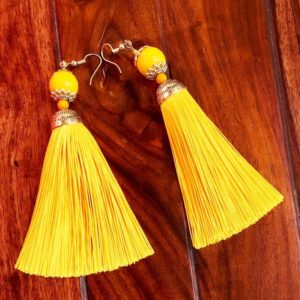Doll_Style_Long_Tassel_Earrings_Yellow