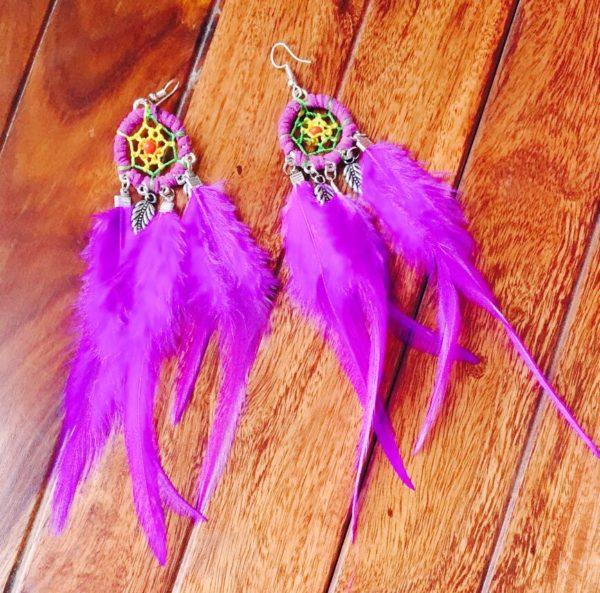 Dream-Catcher-Feather-Earrings-Purple-02