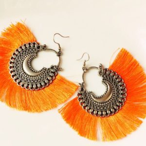 Fan-Style-Tassel-Earrings-With-Chandbalis-Orange