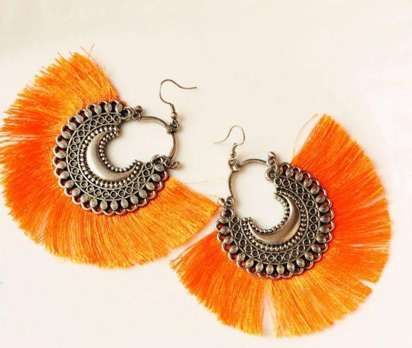 Fan-Style-Tassel-Earrings-With-Chandbalis-Orange