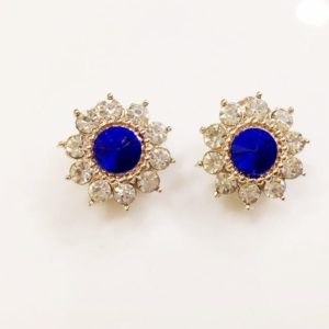Floral-Party-Stud_Earrings-Blue