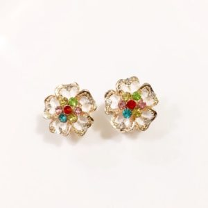 Floral-Party-Stud_Earrings-White-With-Multicoloured-Stones
