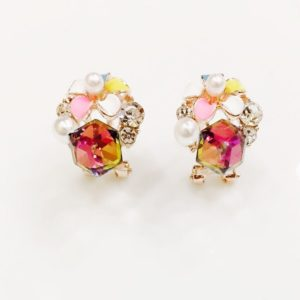 Floral-With-Crystal-Cube-Stud-Earring-Multicolour-01