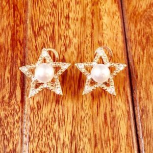 Golden-Star-With-Pearls-Stones-Stud-Earrings-01