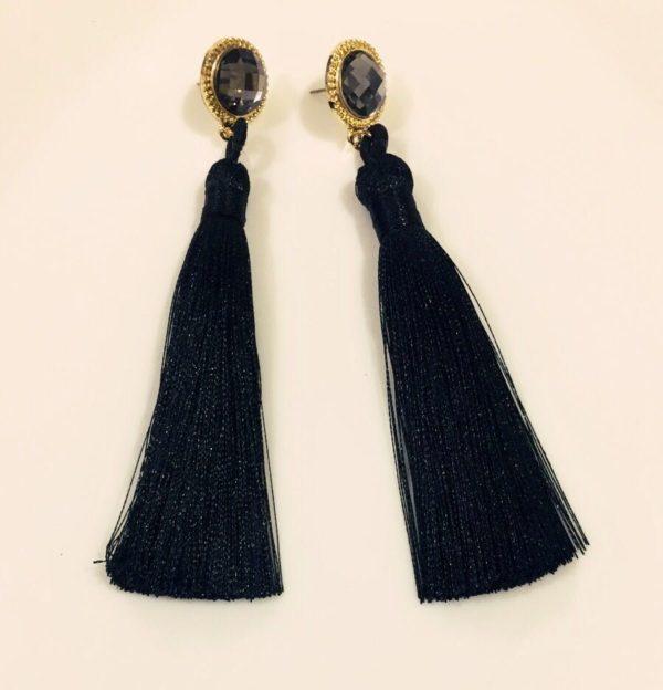 Hot-Long-Silk-Tassel-Earrings-Black-01
