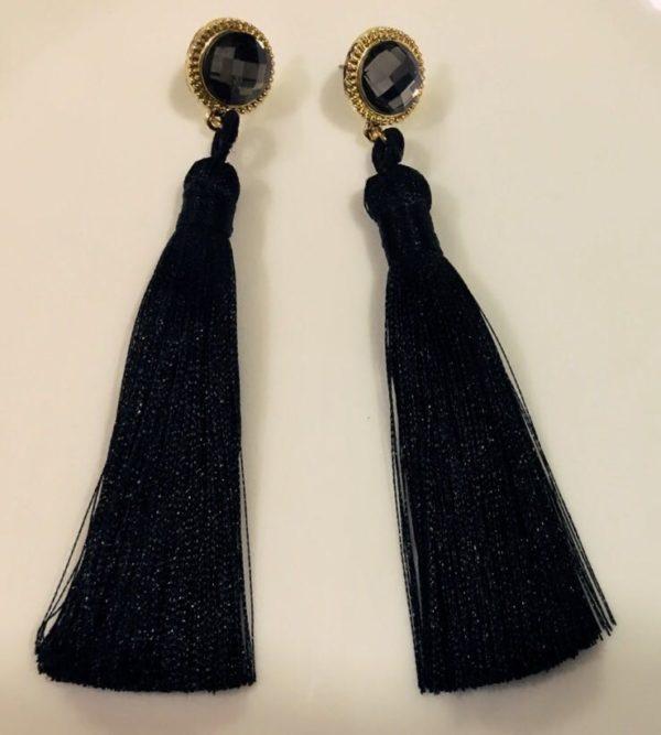 Hot-Long-Silk-Tassel-Earrings-Black-02