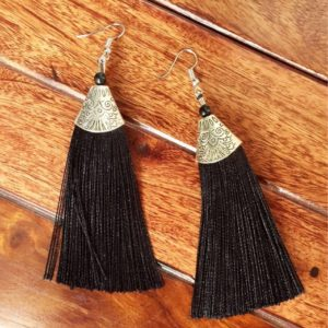 Long-Silk-Tassels-With-Silver-Top-Earrings-Black
