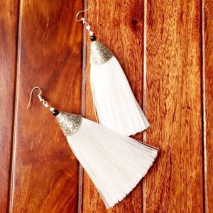 Long-Silk-Tassels-With-Silver-Top-Earrings-White