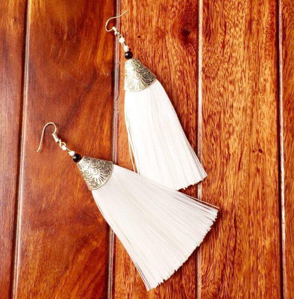 Long-Silk-Tassels-With-Silver-Top-Earrings-White