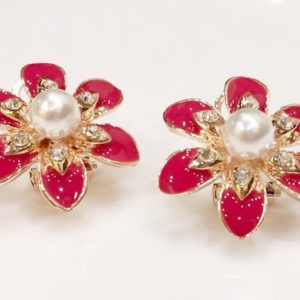 Pink-Petals-Flower-With-Pearl-Stud-Earrings-01