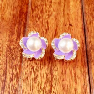 Purple-Flower-With-Pearl-Stud-Earrings-01