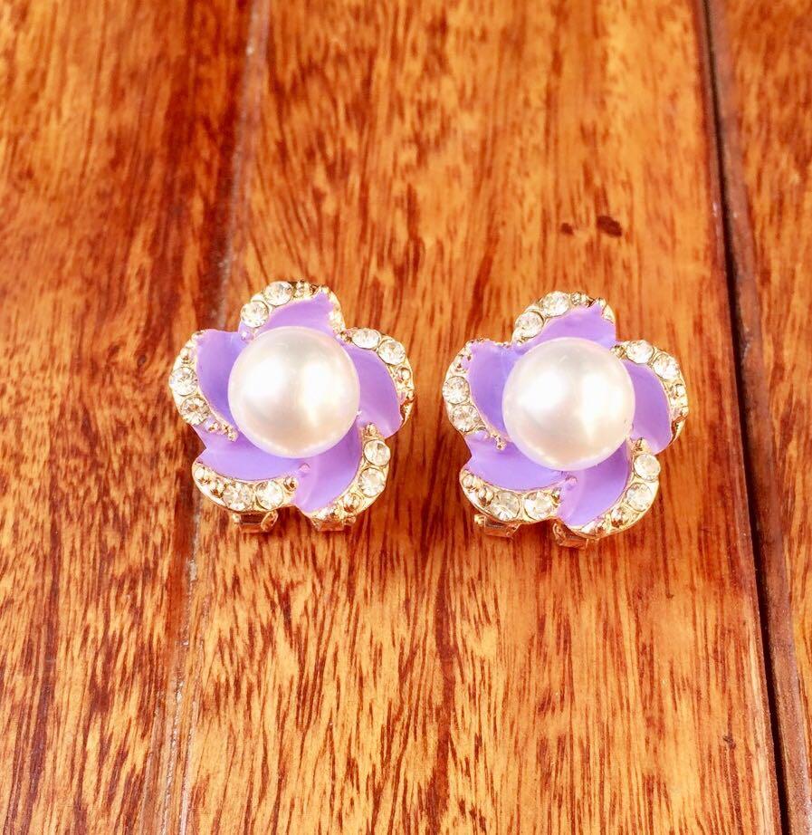 Purple Fl Party Stud Earrings With Pearl