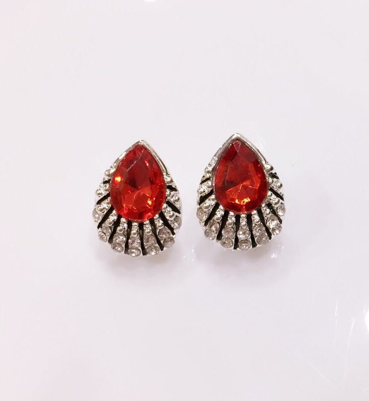 b58fb0d65 Trendy Red Drop Crystal Party Stud Earrings - Pink and You