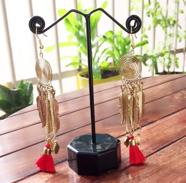 Red-Tassel-Leaf-Drop-Golden-Earrings-01