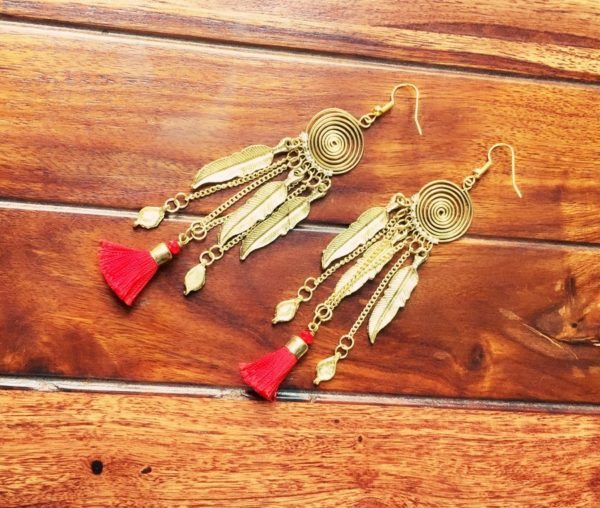 Red-Tassel-Leaf-Drop-Golden-Earrings-02