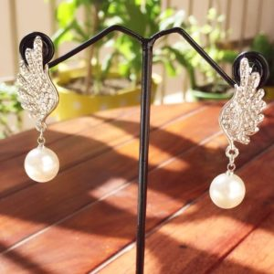 Silver-Wings-With-Stones-Pearl-Drop-Earrings-01