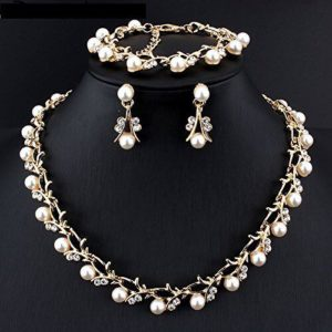 Simulated-White-Pearl-Necklace-Set-Golden-01