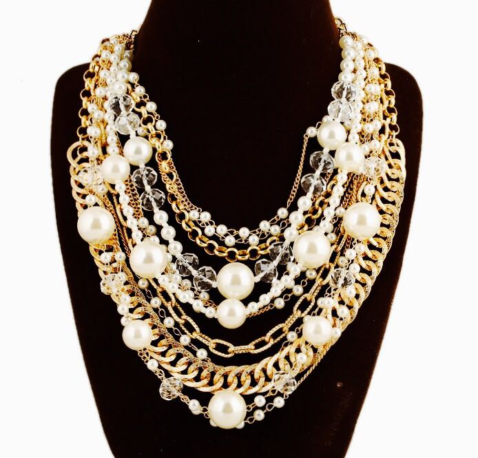 4224115ed Multi Layered Statement Necklace with Earrings - Pink and You