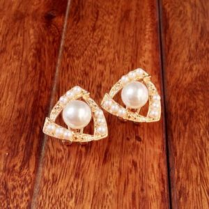 Triangle-Shape-With-Pearls-Stud-Earings-01