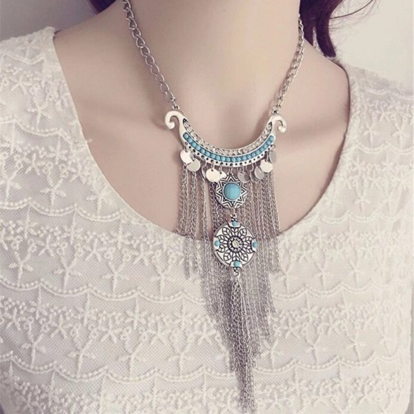 Turquoise-Silver-Metal-Tassel-Necklace-03