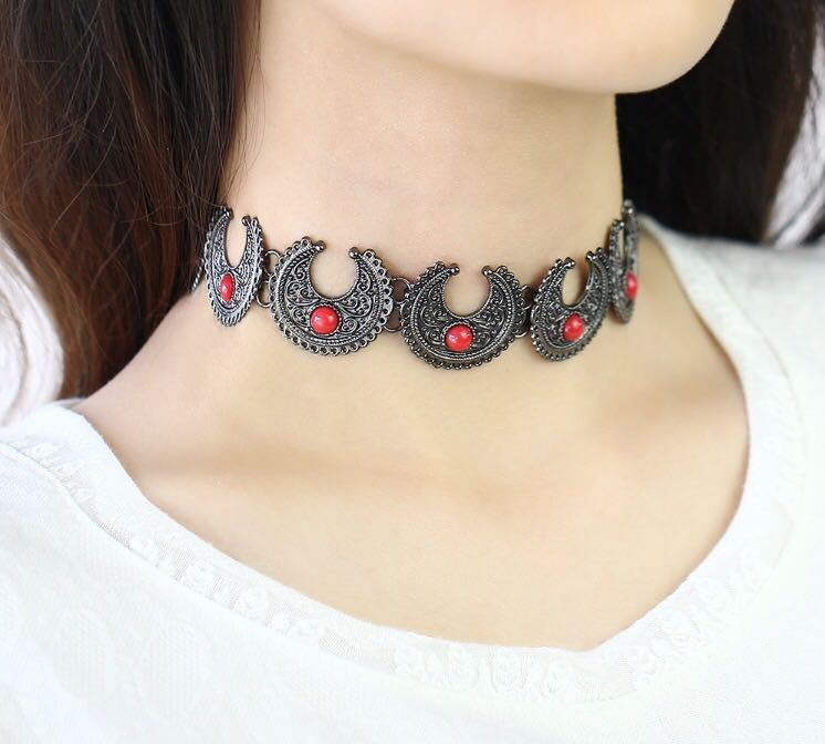69bbfd9230697 Bohemian Metal Chokers (Crescent Moon Design)