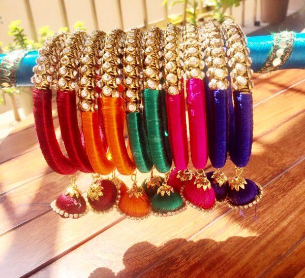 Colourful-Silk-Thread-Kada-Set-With-Jhumkis-01