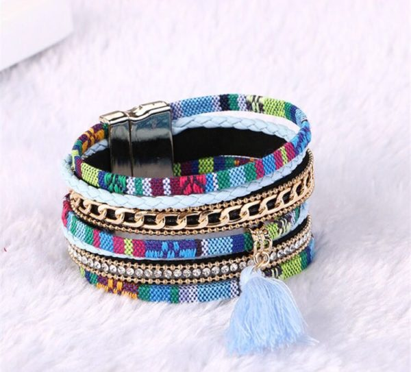 Multicolored-Multilayered-Tassel-Bracelet-With-Magnet-Lock-02