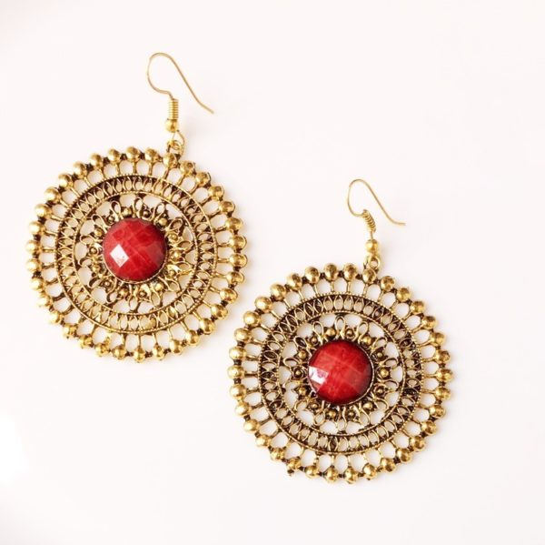 Round-Dangle-Earrings-With-Big-Colored-Bead-Purple-01