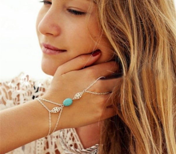 Trendy-Hand-Bracelets-Turquoise-Silver-Chains-01
