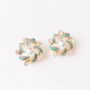 Floral-Turquoise-Pearl-Rhinestones-Party-Stud-Earrings-01