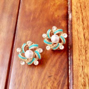 Floral-Turquoise-Pearl-Rhinestones-Party-Stud-Earrings-02