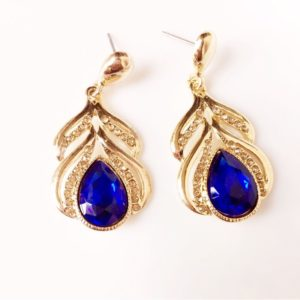 Golden-Dangle-Earrings-With-Crystal-White-Stones-Blue-01