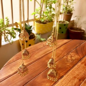 Oxidized-Silver-3-Long-Chains-Jhumkis-Earrings-Antique-Gold-01
