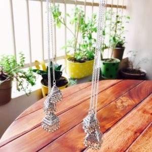 Oxidized-Silver-3-Long-Chains-Jhumkis-Earrings-Silver-03