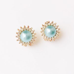 Round-Floral-Colored-Pearl-With-Rhinestones-Party-Stud-Earrings-Blue-01