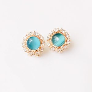 Round-Floral-Colored-Rhinestones-Party-Stud-Earrings-Sea-Blue-01